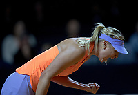 Russia's Maria Sharapova pictured celebrating her first break of serve returns to the court after Drugs Ban playing Roberta Vinci from Italy   during the WTA  Porsche Tennis Grand Prix  at the Porsche Arena,Stuttgart  on 26th April 2017 Picture  Dave Shopland/BPI