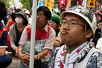 Student activists from Zengakuren (All Japan Federation of Students' Autonomous Body) gather and campaign in Yoyogi Park during a protest rally organised by left wing groups and Doro Chiba union. Tokyo, Japan Sunday June 14th 2009