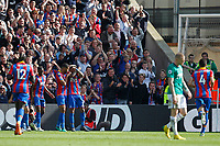 Patrick van Aanholt of Crystal Palace is mobbed after scoring during the EPL - Premier League match between Crystal Palace and West Bromwich Albion at Selhurst Park, London, England on 13 May 2018. Photo by Carlton Myrie / PRiME Media Images.