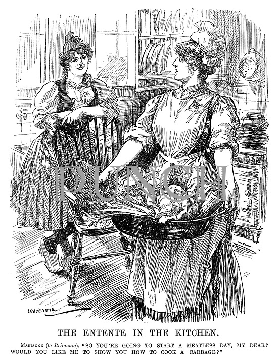 """The Entente in The Kitchen. Marianne (to Britannia). """"So you're going to start a meatless day, my dear? Would you like me to show you how to cook a cabbage?"""" (France and Britain share austerity in the kitchen during WW1)"""