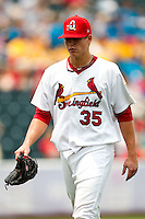 Kevin Thomas (35) of the Springfield Cardinals walks off the field during a game against the Tulsa Drillers at Hammons Field on June 27, 2011 in Springfield, Missouri. (David Welker / Four Seam Images)