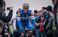 Niki Terpstra (NED/Quick-Step Floors) rolling to the start presentation podium<br /> <br /> 102nd Ronde van Vlaanderen 2018 (1.UWT)<br /> Antwerpen - Oudenaarde (BEL): 265km