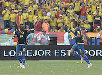 BARRANQUILLA - COLOMBIA -29-03-2016: Michael Arroyo (Der) jugador de Ecuador celebra después de anotar un gol a Colombia durante partido de la fecha 6 para la clasificación a la Copa Mundial de la FIFA Rusia 2018 jugado en el estadio Metropolitano Roberto Melendez en Barranquilla./  Michael Arroyo (R) player of Ecuador celebrates after scoring a goal to Colombia during match of the date 6 for the qualifier to FIFA World Cup Russia 2018 played at Metropolitan stadium Roberto Melendez in Barranquilla. Photo: VizzorImage / Gabriel Aponte / Cont