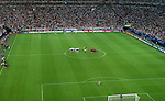 01 July 2006: A wide shot of the stadium during Christiano Ronaldo's winning penalty kick. England played Portugal at Veltins Arena in Gelsenkirchen, Germany in match 59, a Quarterfinal game of the 2006 FIFA World Cup.