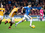 Motherwell v St Johnstone&hellip;20.10.18&hellip;   Fir Park    SPFL<br />Matty Kennedy is tracked by Peter Hartley<br />Picture by Graeme Hart. <br />Copyright Perthshire Picture Agency<br />Tel: 01738 623350  Mobile: 07990 594431