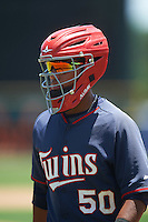GCL Twins catcher Kidany Salva (50) warms up the pitcher in between innings during a game against the GCL Orioles on August 11, 2016 at the Ed Smith Stadium in Sarasota, Florida.  GCL Twins defeated GCL Orioles 4-3.  (Mike Janes/Four Seam Images)