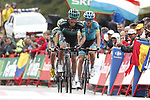 Rafal Majka (POL) Bora-Hansgrohe and Ion Izaguirre Insausti (ESP) Astana Pro Team cross the finish line at the end of Stage 9 of La Vuelta 2019 running 99.4km from Andorra la Vella to Cortals d'Encamp, Spain. 1st September 2019.<br /> Picture: Luis Angel Gomez/Photogomezsport | Cyclefile<br /> <br /> All photos usage must carry mandatory copyright credit (© Cyclefile | Luis Angel Gomez/Photogomezsport)