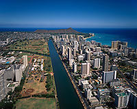 Ala Wai Canal, Waikiki & Diamond Head Crater, Aerial View, Honolulu, Oahu, Hawaii, HI, USA.