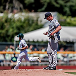 19 July 2018: Staten Island Yankee pitcher Matt Sauer examines the ball on the mound after giving up a solo home run to Vermont Lake Monster infielder Jonah Bride in the first inning at Centennial Field in Burlington, Vermont. The Lake Monsters edged out the Yankees 2-1 in NY Penn League action. Mandatory Credit: Ed Wolfstein Photo *** RAW (NEF) Image File Available ***