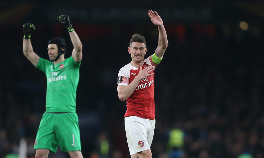 Arsenal's Laurent Koscielny at the end of the game<br /> <br /> Photographer Rob Newell/CameraSport<br /> <br /> UEFA Europa League First Leg - Arsenal v Napoli - Thursday 11th April 2019 - The Emirates - London<br />  <br /> World Copyright © 2018 CameraSport. All rights reserved. 43 Linden Ave. Countesthorpe. Leicester. England. LE8 5PG - Tel: +44 (0) 116 277 4147 - admin@camerasport.com - www.camerasport.com