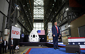 In this photo released by the National Aeronautics and Space Administration (NASA), President Donald Trump speaks inside the Vehicle Assembly Building following the launch of a SpaceX Falcon 9 rocket carrying the company's Crew Dragon spacecraft on NASA's SpaceX Demo-2 mission with NASA astronauts Robert Behnken and Douglas Hurley onboard, Saturday, May 30, 2020, at NASA's Kennedy Space Center in Florida. NASA's SpaceX Demo-2 mission is the first launch with astronauts of the SpaceX Crew Dragon spacecraft and Falcon 9 rocket to the International Space Station as part of the agency's Commercial Crew Program. The test flight serves as an end-to-end demonstration of SpaceX's crew transportation system. Behnken and Hurley launched at 3:22 p.m. EDT on Saturday, May 30, from Launch Complex 39A at the Kennedy Space Center. A new era of human spaceflight is set to begin as American astronauts once again launch on an American rocket from American soil to low-Earth orbit for the first time since the conclusion of the Space Shuttle Program in 2011. <br /> Mandatory Credit: Bill Ingalls / NASA via CNP