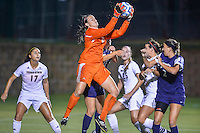 Texas State goalkeeper Caitlynn Rinehart (2) goes up for a save during second half of NCAA soccer game, Friday, September 12, 2014 in San Marcos, Tex. TCU defeated Texas State 1-0. (Mo Khursheed/TFV Media via AP Images)
