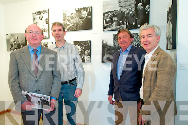 Speakers at the opening of the de Gaulle Photographic  Exhibition at Geopark in Sneem on Friday from left: Dr Paddy Malone, Padraig Kennelly, Managing Director Kerry's Eye, John O'Sullivan, Manager Sneem Geopark, Hadrien Laroche, French Embassy.