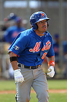 New York Mets infielder Omar Quintanilla #6 during a minor league spring training intrasquad game at the Port St. Lucie Training Complex on March 27, 2012 in Port St. Lucie, Florida.  (Mike Janes/Four Seam Images)