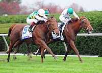 Angel Terrace and James Graham (inside) win the first division of the Pin Oak Valley View at Keeneland Racecourse over Miss Cato (GB) and Gabriel Saez (outside).October 19, 2012.