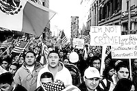 An estimated crowd of 125,000 gathered at City Hall in New York City as part of a nationwide protest against United States immigration policy on April 10, 2006.