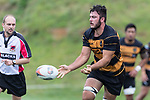 David O'Connell makes a pass during the Counties Manukau Premier Counties Power Club Rugby Round 4 game between Bombay and Manurewa, played at Bombay on Saturday March 31st 2018. <br /> Manurewa won the game 25 - 17 after trailing 15 - 17 at halftime.<br /> Bombay 17 - Ki Anufe, Chay Macwood tries, Tim Cossens, Ki Anufe conversions,  Ki Anufe penalty. <br /> Manurewa Kidd Contracting 25 - Peter White 2 , Willie Tuala 2 tries, James Faiva conversion,  James Faiva penalty.<br /> Photo by Richard Spranger.