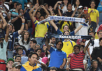 MEDELLÍN -COLOMBIA-27-07-2016. Hinchas de Independiente animan a su equipo durante partido de vuelta entre Atlético Nacional de Colombia e Independiente del Valle de Ecuador por la final de la Copa Bridgestone Libertadores 2016 jugado en el estadio Atanasio Girardot de la ciudad de Medellín. / Fans of Independiente in cheer for their team during second leg match Atletico Nacional of Colombia and Independiente del Valle of Ecuador for the final of the Copa Bridgestone Libertadores 2016 played at Atanasio Girardot stadium in Medellin city. Photo: VizzorImage/ Alejandro Rosales