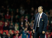 Australia's Head Coach Michael Cheika during the pre match warm up<br /> <br /> Photographer Simon King/CameraSport<br /> <br /> International Rugby Union - 2017 Under Armour Series Autumn Internationals - Wales v Australia - Saturday 11th November 2017 - Principality Stadium - Cardiff<br /> <br /> World Copyright &copy; 2017 CameraSport. All rights reserved. 43 Linden Ave. Countesthorpe. Leicester. England. LE8 5PG - Tel: +44 (0) 116 277 4147 - admin@camerasport.com - www.camerasport.com