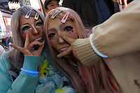 Two Japanese women dressed as Yamanba girls during the Halloween celebrations Shibuya, Tokyo, Japan. Saturday October 27th 2018. The celebrations marking this event have grown in popularity in Japan recently. Enjoyed mostly by young adults who like to dress up, drink , dance and misbehave in parts of Tokyo like Shibuya and Roppongi. There has been a push back from Japanese society and the police to try to limit the bad behaviour.