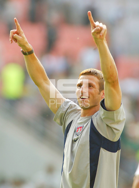 Frankie Hejduk celebrates his team's victory. The USA defeated Mexico 2-0 in the Round of 16 of the FIFA World Cup 2002 in South Korea on June 17, 2002.