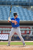 O'Neal Lochridge (27) of St. Thomas More High School in Lafayette, Louisiana playing for the New York Mets scout team during the East Coast Pro Showcase on August 1, 2014 at NBT Bank Stadium in Syracuse, New York.  (Mike Janes/Four Seam Images)