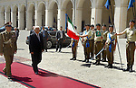 Palestinian President Mahmoud Abbas reviews the honor guard before his meeting with Italian President Giorgio Napolitano at the Quirinale in Rome, June 09, 2014. Photo by Thaer Ganaim