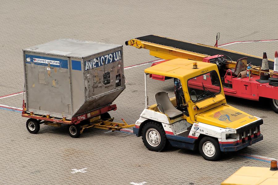 LD-3 container on cart, Hong Kong International Airport, Hong Kong SAR, China, Asia