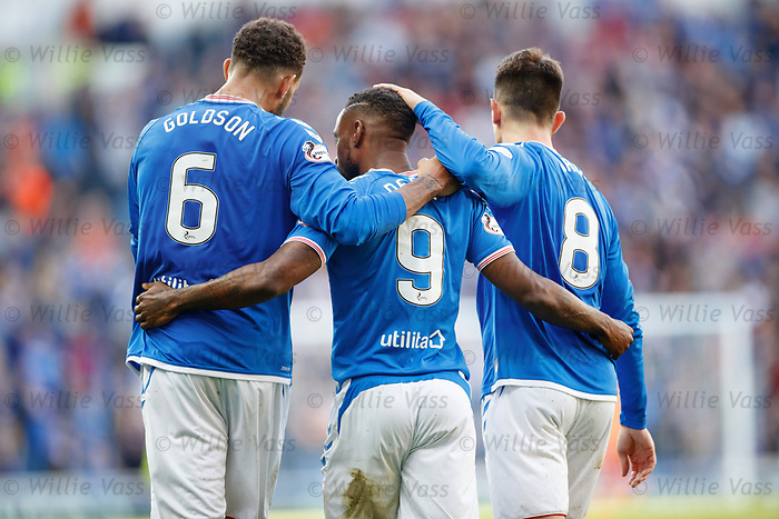 28.09.2018 Rangers v Aberdeen: Connor Goldson, Jermain Defoe and Ryan Jack after goal no 5