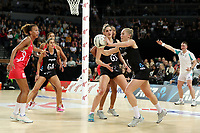 15.09.2018 Silver Ferns Laura Langman in action during Silver Ferns v England netball test match at Spark Arena in Auckland. Mandatory Photo Credit ©Michael Bradley.