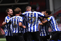 28th June 2020; Ashton Gate Stadium, Bristol, England; English Football League Championship Football, Bristol City versus Sheffield Wednesday; Connor Wickham of Sheffield Wednesday celebrates with his team after scoring the first goal in 13th minute 0-1