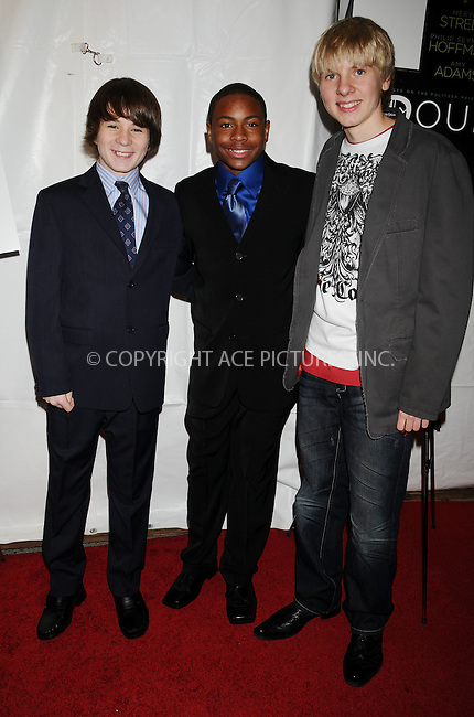 WWW.ACEPIXS.COM . . . . .  ....December 7 2008, New York City....Actors Lloyd Clay Brown, Joseph Foster and Michael Roukis at the New York premiere of 'Doubt' at the Paris Theatre on December 7 2008 in New York City....Please byline: AJ Sokalner - ACEPIXS.COM..... *** ***..Ace Pictures, Inc:  ..tel: (212) 243 8787..e-mail: info@acepixs.com..web: http://www.acepixs.com