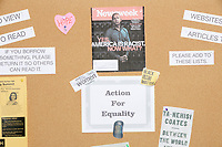A bulletin board display about racism and equality is seen in the church basement as Democratic presidential candidate and Congressional Representative Eric Swalwell (D-CA 15th) speaks at the Milford Democrats' Potluck Supper at the Unitarian Universalist Congregation Church in Milford, New Hampshire, USA, on Sat., Apr. 6, 2019. Swalwell is running primarily on gun control issues.