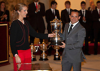 Princess Elena of Spain and Sergi Barjuan attend the National Sports Awards ceremony at El Pardo Palace. December 05, 2012. (ALTERPHOTOS/Caro Marin) NortePhoto