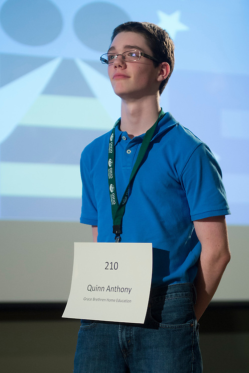 Quinn Anthony of Grace Brethren Home Education introduces himself during the Columbus Metro Regional Spelling Bee Regional Saturday, March 16, 2013. The Regional Spelling Bee was sponsored by Ohio University's Scripps College of Communication and held in Margaret M. Walter Hall on OU's main campus.