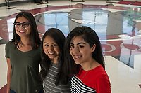 NWA Democrat-Gazette/ANTHONY REYES @NWATONYR<br /> Springdale High School seniors (from left) Diana Lobaton, Stephanie Trejo Corona and Carol Medina, at their school Wednesday, May 17, 2017 in Springdale. The seniors were accepted into the QuestBridge program and received scholarships for college. Medina will attend University of Southern California, Trejo Carona will attend Rice University and Lobaton will attend Emory University.