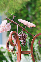 Wrought iron decoration: a grape bunch leaves and vine. Chateau de Beaucastel, Domaines Perrin, Courthézon Courthezon Vaucluse France Europe