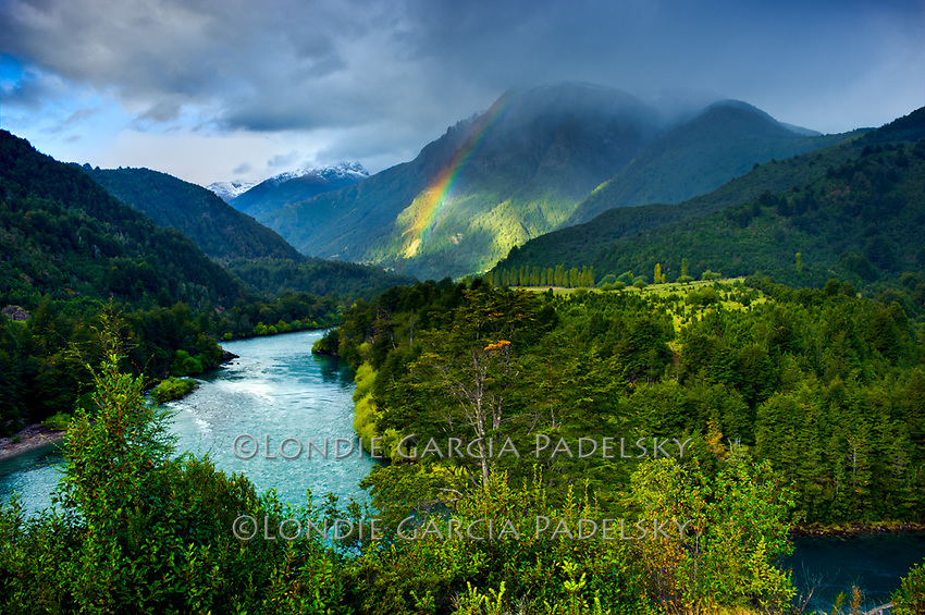 Rainbow over Futaleufu River from Mapu Leufu view point, Rio Futaleufu, Patagonia, Chile, South America