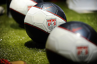 Nike USA soccer balls on display during the unveiling of the USA Men's National Team new uniform at Niketown in NYC, NY, on April 29, 2010.