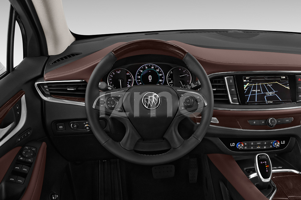 Car pictures of steering wheel view of a 2018 Buick Enclave Avenir 5 Door SUV
