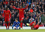 Dejan Lovren of Liverpool cries out in pain following a tackle with Ross Barkley of Everton during the English Premier League match at Anfield Stadium, Liverpool. Picture date: April 1st 2017. Pic credit should read: Simon Bellis/Sportimage
