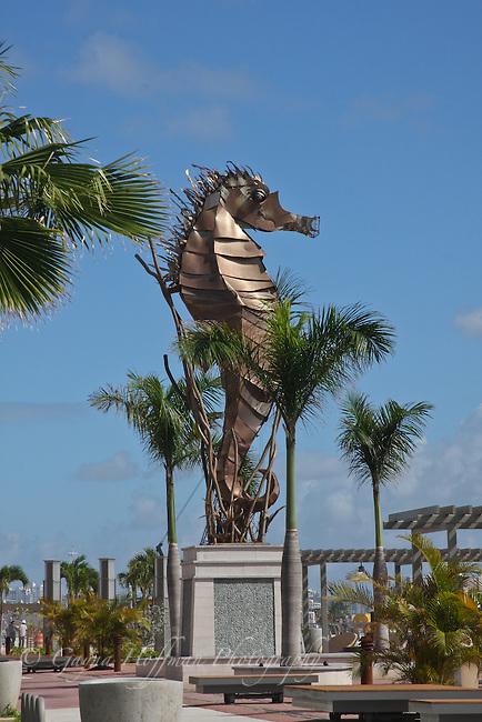 Seahorse metal sculpture. Paseo Del Puerto, Old San Juan, PR