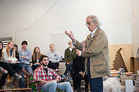 Artist Christo speaks to Professor Mary Beth Heffernan's sculpture class at Occidental College, Tuesday, February 22, 2011 in Los Angeles, Calif. (Photo by Marc Campos, Occidental College Photographer)