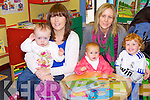 BABY BOGGIE: Enjoying the Baby Boggie as part of the Children's Book Festival at he Kerry County Library, Tralee on Saturday l-r: Hannah and Margaret Roche, Oakpark, Tralee and Chloe, Margaret and Nick Lacey, Lee Drive, Tralee.