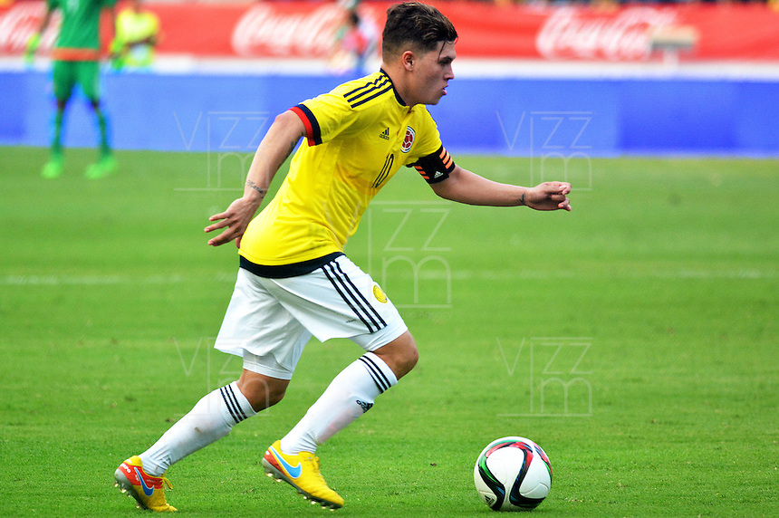 BARRANQUILLA- COLOMBIA, 25-03-2016:  Juan G Quintero jugador de Colombia en acción durante el encuentro de ida con EEUU (Categoría Sub 23) por el repechaje por el último lugar para el Torneo Olímpico de Fútbol Rio 2016 jugado en el estadio Metropolitano Roberto Meléndez de Barranquilla ./ Juan G Quintero player of Colombia in action during the forst leg match with USA (Category U-23 ) for the playoff for the last spot to the Olympic Football Tournament Rio 2016 played at Roberto Melendez stadium in Barranquilla city. Photos: VizzorImage / Alfonso Cervantes / Str.  Photo: VizzorImage/Alfonso Cervantes/STR
