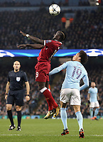 Liverpool's Sadio Mane wins an aerial ball despite the attentions of Manchester City's Leroy Sane<br /> <br /> Photographer Rich Linley/CameraSport<br /> <br /> UEFA Champions League Quarter-Final Second Leg - Manchester City v Liverpool - Tuesday 10th April 2018 - The Etihad - Manchester<br />  <br /> World Copyright &copy; 2017 CameraSport. All rights reserved. 43 Linden Ave. Countesthorpe. Leicester. England. LE8 5PG - Tel: +44 (0) 116 277 4147 - admin@camerasport.com - www.camerasport.com