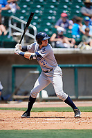 Pensacola Blue Wahoos third baseman Taylor Sparks (23) at bat during a game against the Birmingham Barons on May 9, 2018 at Regions Field in Birmingham, Alabama.  Birmingham defeated Pensacola 16-3.  (Mike Janes/Four Seam Images)