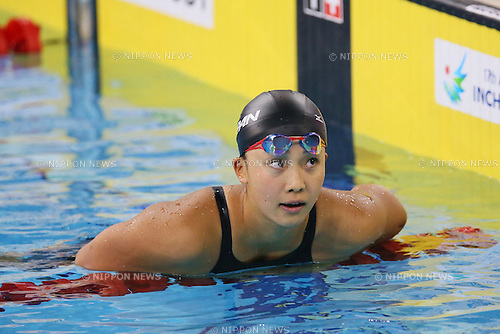 Kanako Watanabe (JPN), <br /> SEPTEMBER 25, 2014 - Swimming : <br /> Women's 50m Breaststroke Final <br /> at Munhak Park Tae-hwan Aquatics Center <br /> during the 2014 Incheon Asian Games in Incheon, South Korea. <br /> (Photo by YUTAKA/AFLO SPORT)