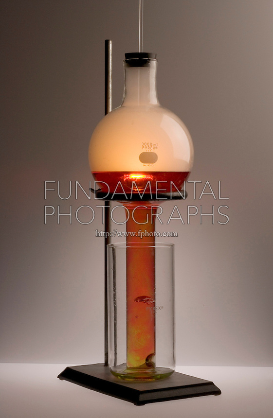PHOSPHORUS MOON DEMONSTRATION<br /> (8 of 10 - Variations Available)<br /> Combustion of Red Phosphorus in An O2 Atmosphere<br /> The water in the beaker and tube is almost fully acidified and the color is completely red. Combustion of the phosphorus, visible as flame, continues to create a vacuum which causes turbulence in the solution.