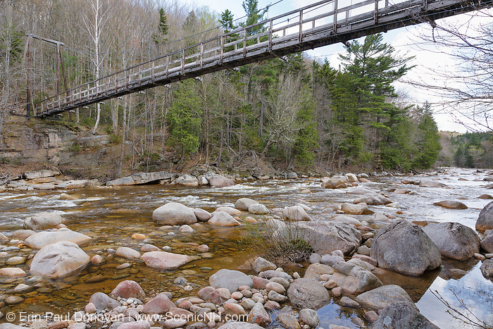 180-foot-long suspension bridge along the Wilderness Trail in the Pemigewasset Wilderness, New Hampshire. It spanned the East Branch of the Pemigewasset River just above the East Branch & Lincoln Railroad's old trestle No. 17. Built in 1959-1960, the footbridge was dismantled in 2009 because of safety issues. It was roughly 25 feet above the river, and had a two-person weight limit during its last few years of life.